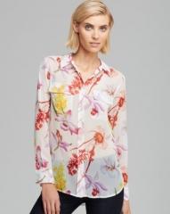 Equipment Shirt - Slim Signature Endangered Floral Print Silk Chiffon at Bloomingdales