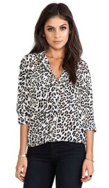 Equipment Signature Modern Leopard Printed Blouse in Bright White  REVOLVE at Revolve