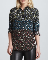 Equipment Slim Signature Spectrum Floral-Print Blouse Black Multi at Neiman Marcus