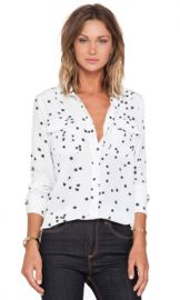 Equipment Slim Signature Star Print Blouse in Bright White from Revolve com at Revolve