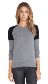 Equipment Sloane Colorblock Crewneck Sweater in Heather Grey and Black Multi  REVOLVE at Revolve