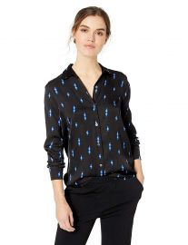 Equipment Women s Essential Neon Bolt Printed Drapey Silk Shirt at Amazon