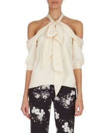 Erdem Elin Cold-Shoulder Tie-Neck Top  Ivory at Neiman Marcus