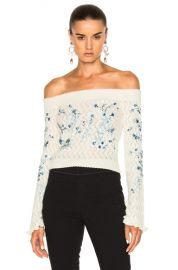 Erdem Bella Embellished Lace Knit Off The Shoulder Sweater in Ivory   FWRD at Forward