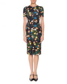 Erdem Essie Mariko Meadow Short-Sleeve Floral-Print Fitted Dress at Neiman Marcus