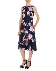 Erdem Maia Lily-Print Sleeveless Dress  Navy Pink   Neiman Marcus at Neiman Marcus