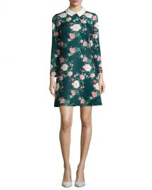 Erin Fetherston Mila Collared Floral-Print Cocktail Dress at Neiman Marcus