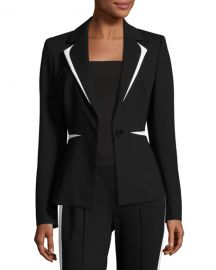 Escada Contrast-Trim One-Button Blazer   at Neiman Marcus