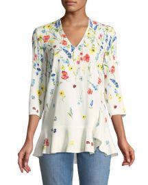 Escada 3 4-Sleeve V-Neck Floral-Print Top at Neiman Marcus