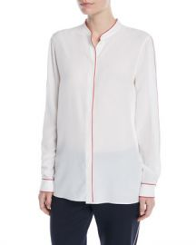 Escada Button-Front Long-Sleeve Silk Blouse w  Contrast Piping at Neiman Marcus