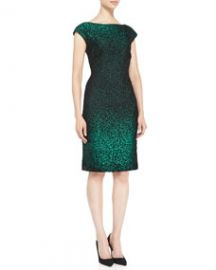 Escada Cap-Sleeve Metallic Sheath Dress GreenBlack at Neiman Marcus