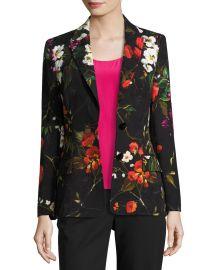Escada Floral Matelasse Jacket  Black Multicolor   Neiman Marcus at Neiman Marcus