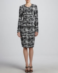 Escada Scribble Tweed Jacket and Skirt at Neiman Marcus