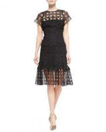 Escada Short-Sleeve Lace Eyelet Shirt and Lace Eyelet-Hem Skirt at Neiman Marcus