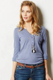 Essential Henley in blue at Anthropologie