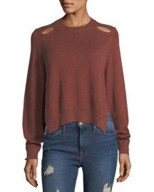 Etoile Isabel Marant Kelia Crewneck Distressed Cotton-Wool Sweater at Neiman Marcus