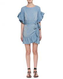 Etoile Isabel Marant Lelicia Round-Neck Wrap-Front Chambray Dress at Neiman Marcus