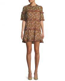 Etoile Isabel Marant Maiwenn Ochre Floral-Print Tiered Mini Dress at Neiman Marcus