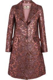 Etro   Metallic wool-blend jacquard coat at Net A Porter