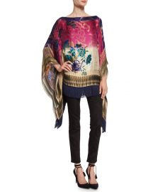 Etro Floral Fringe-Trim Poncho  Blue Pink at Neiman Marcus