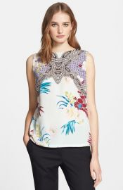 Etro Floral Geo Print Silk Blouse at Nordstrom