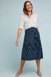 Eva Franco Textured Chevron Midi Skirt at Anthropologie