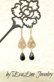 EvaLineJewelry Onyx Teardrop Earrings at Etsy