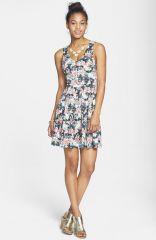 Everly Floral Print Skater Dress at Nordstrom