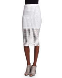 Eyelet Jacquard Pencil Skirt  White at Neiman Marcus