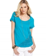 Eyelet tee by Lucky Brand at Macys at Macys