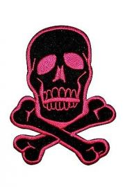 FD Skull & Crossbones Pink on Black Embroidered Iron On Applique Patch  at Amazon