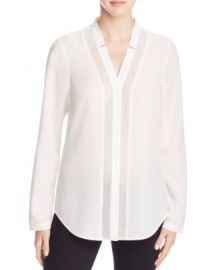 FINITY Sheer Inset Button Down Shirt in white at Bloomingdales