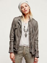 FP Collection Cool Grey Rumpled Leather Blazer in Cool Grey at Free People