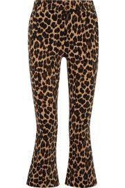 FRAME   Cropped leopard-print cotton-blend velvet flared pants at Net A Porter
