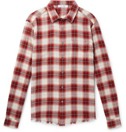 FRAME - DISTRESSED CHECKED COTTON-FLANNEL SHIRT at Mr Porter