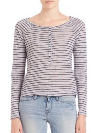FRAME - Le Henley Long Raglan Sleeve Stripe at Saks Off 5th