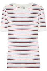 FRAME - STRIPED RIBBED STRETCH-JERSEY TOP - WHITE at Net A Porter