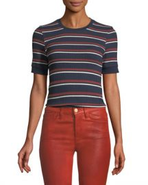 FRAME 70s Striped Fitted Crewneck Tee at Neiman Marcus