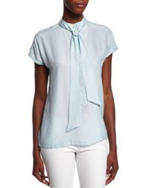 FRAME DENIM Short-Sleeve Tie-Neck Striped Top Sky Blue at Neiman Marcus