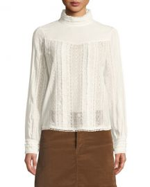 FRAME Embroidered Lace High-Neck Blouse at Neiman Marcus