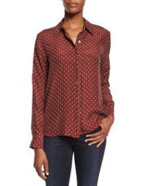 FRAME Le Classic Dot-Print Silk Shirt Andorra Dot at Neiman Marcus