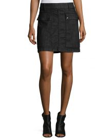 FRAME Le Mini A-Line Broome Street Skirt  Black at Neiman Marcus