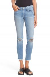 FRAME Le Skinny de Jeanne Crop Raw Edge Jeans Waterwood Nordstrom Exclusive at Nordstrom