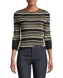 FRAME Panel-Stripe Metallic Ribbed Pullover Sweater at Neiman Marcus