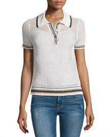 FRAME Short-Sleeve Mesh Polo Shirt  Chalk Bronze at Neiman Marcus