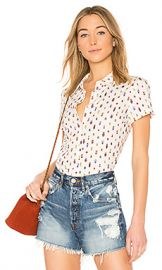 FRAME Shrunken Short Sleeve Top in Off White Multi from Revolve com at Revolve