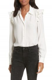 FRAME Silk Ruffle Sleeve Blouse at Nordstrom