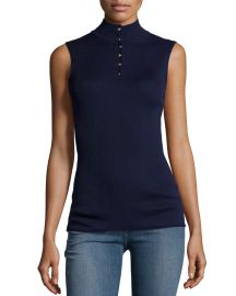 FRAME Sleeveless Rib Mock-Neck Sweater  Navy at Neiman Marcus