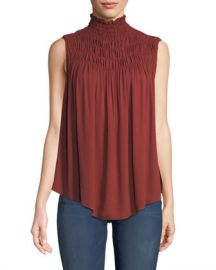 FRAME Smocked High-Neck Sleeveless Top at Neiman Marcus
