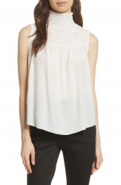 FRAME Smocked Sleeveless Silk Blouse at Nordstrom
